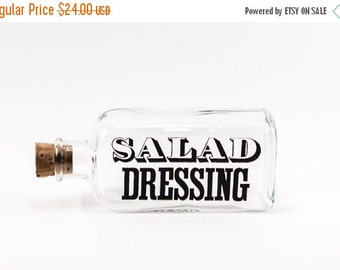 Vintage Salad Dressing Bottle Typography Retro Kitchen Decor 1970s