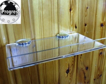 Wall Clear Transparent Acrylic Shelf With Edge and Two Shelf Brackets