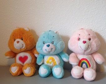 Vintage Care Bear Plush Doll, Orange Care Bear, Heart Care Bear, Tenderheart Bear, Vintage 80s Toy, Vintage Cartoon Bears
