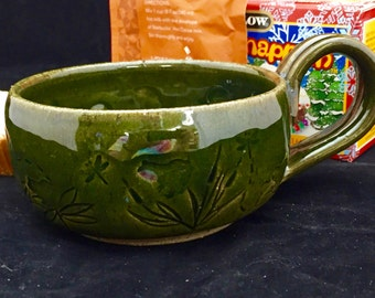 """4-1/2"""" dia. x 2-1/4"""" tall Etched Frog Motif Stoneware Pottery/Ceramic Cappuccino/Tea/Coffee/Hot Chocolate Cup with High Fire Glaze."""