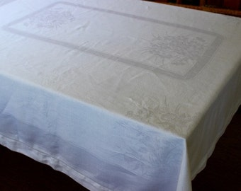 Vintage Linen Tablecloth Damask 60 Square White Daffodils Hemstitched