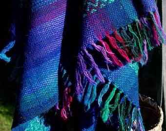 Vintage Wool Blanket Plaid Throw Irish Brights Connemara Blue Purple Green