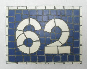 House Number Plate No. 62, Original French Blue and White Sign, Mosaic Signs, French Signs, French House Number Plate, Blue and White Signs