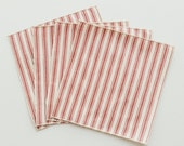 Small Red and White Ticking Cloth Cocktail Napkins - Holiday Christmas Napkins - Lunchbox Napkins - Set of Four