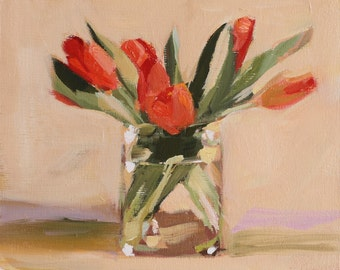 Floral Still Life painting with Tulips, Original oil on wood panel painting, 8x10 inch Canadian Fine Art