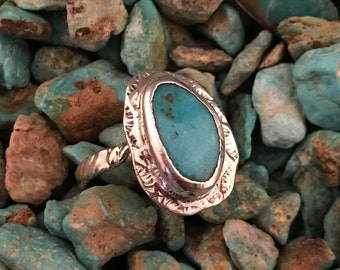 Cripple Creek Colorado Burtis Blue Turquoise & Sterling Silver Size 5 Ring #014R