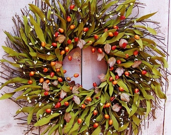 Fall Wreath-Fall Door Wreath-Fall Front Door Wreath-Fall Wreaths for Door-Front Door Wreath-RUSTIC ORANGE BERRY Twig Door Wreath-Wreaths