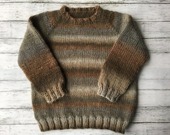 hand knit child sweater size 3-4