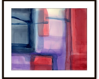"Large abstract original gouache watercolor painting 'Peeking Beyond the Curtain', red, purple, prussian blue, indigo  approx. 36"" x 29.5"""