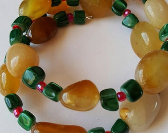 Wrap Bracelet, Green Nugget Jade,Yellow Gemstone