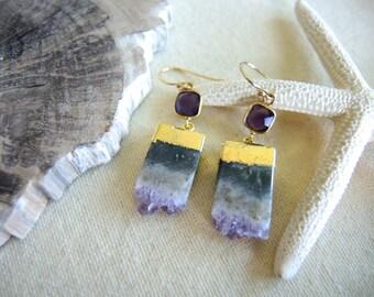 Amethyst Earrings, Amethyst Slice Earrings, 18K Gold Vermeil Bezel Earrings, February Birthstone, Amethyst Druzy Jewelry Gifts For Her