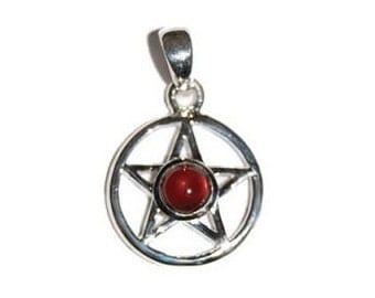Garnet Pentagram Pendant - Sterling silver, Garnet jewelry, Pentacle, Witchcraft, Pagan wiccan, Star pendant, Five point star