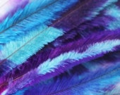 10 Tie Dye Feather Extensions CRUELTY FREE Turquoise, Purple, and  Blue Emu Feathers for hair