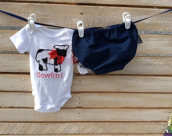 Cow Print Outfit, Demin Diaper Cover, Cowgirl Outfit, Baby Western Outfit