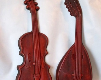 MOVING SALE Vintage Metal Wall Art String Instruments. Mid Century Music Decor. Violin and Lute Wall Art.