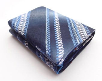 Recycled Necktie Trifold Wallet - navy, blue, white stripes