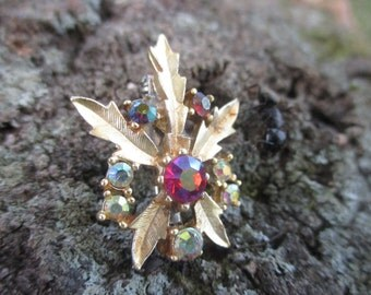 Vintage Hemp Pin Marijunana Brooch with Rhinestones