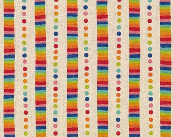Flying Colors Linens by Momo for Moda - Rainbow Stripe - Sand - 33065 11L - 1/2 Yard Linen/Cotton Quilt Fabric 516