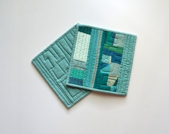 Teal Pot Holders, Quilted Pot Holders, Modern Kitchen Decor, Aqua Pot Holders, Hot Pads, Hostess Gift