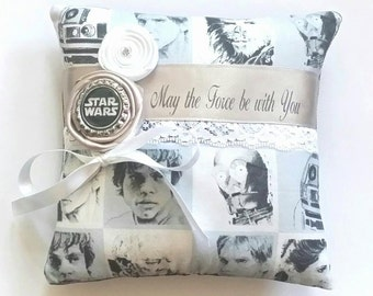 Star Wars Themed Wedding Ring Pillow - ( 6x6 inch pillow )