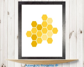 Honeycomb print, Rosh Hashanah printable, Orange honey poster, Shanah Tovah print, Beehive sweet honey wall art, kitchen print, Hexagon art