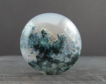 Round shape green agate cabochon, Semiprecious stone, Jewelry making supplies S6826
