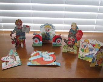 2) 7 Vintage Valentines From the 1930's, 40's and 1950's