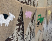 Farm Birthday Banner / Farm Animal Burlap Banner