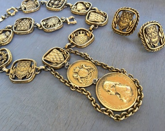 Vintage Heraldic Coins Statement Necklace Earrings Set British Royal Navy Shields Coins 1960s Jewelry