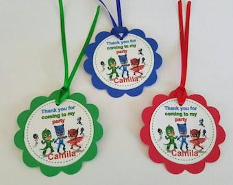 12 Personalized Pj Masks favor tags, party decoration