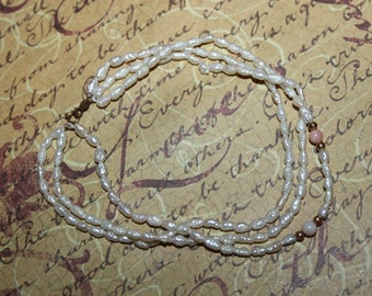 Vintage 14K & Freshwater Pearl with Corals Triple Strand Bracelet-FREE SHIPPING