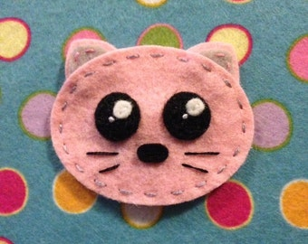 Kawaii cat head wool Felt no slip  hair clip