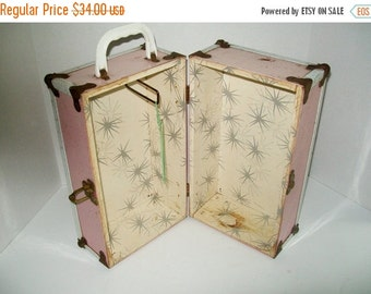 Vintage Pink Doll Trunk Doll Clothes Metal Trunk 1950's Collectible