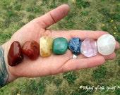 CHAKRA STONE SET #3 - Seven Chakras, 7 Tumbled Crystals & Gemstones, Reiki Stones, Healing Crystals, Meditation