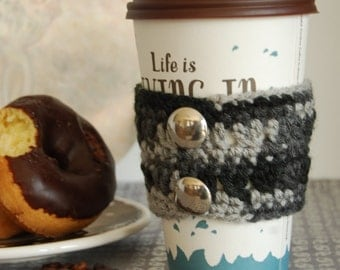 Black Cup Cozy Crocheted with Buttons, Crochet Coffee Cozy, Cozies Crocheted, Crocheted Cup Cozies, Cozies for Coffee Cups, Coffee Cozies