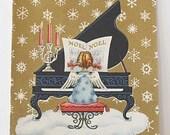 Vintage 1950s CHRISTMAS CARD - Angel Playing Piano (UNUSED w/ Envelope)