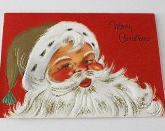 Vintage 1960s CHRISTMAS CARD - SANTA Face (Unused w/ Envelope)
