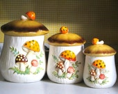 Merry Mushroom Canister Set of Three Sears Roebuck & Company Retro Kitchen Storage Containers Mod Decor