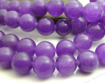8mm Amethyst Purple Jade Round Gemstone Beads - 15.5 Inch Strand - BA7