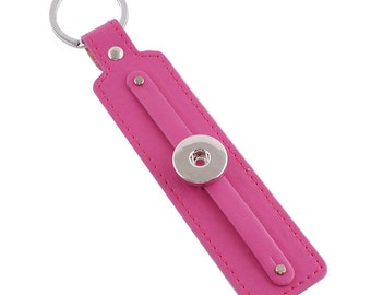 1 Slide Leather Keychain - Pink FITS 18MM Candy Snap Charm Jewelry Silver KC1106 Cj0585
