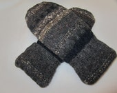 Men's wool mittens size medium shades of gray blue taupe fleece-lined Valentine Gift RTS