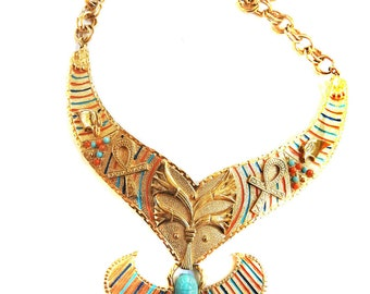 Egyptian Revival Scarab Statement Necklace 50s