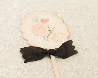 Cupcake Picks Toppers-Rose Shabby Chic Table Party Decorations-Set of 12