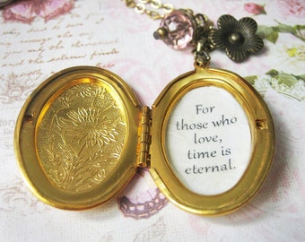 memory photo locket with quote For those who love time is eternal  forever  loved one necklace for women with shakespeare  inspirational