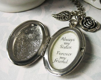 Always my sister forever my friend Locket necklace pendant with inspirational quote gift for sisters jewelry for women  photo locket charm