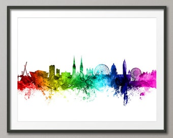 Belfast Skyline, Belfast Cityscape Northern Ireland Art Print (2457)