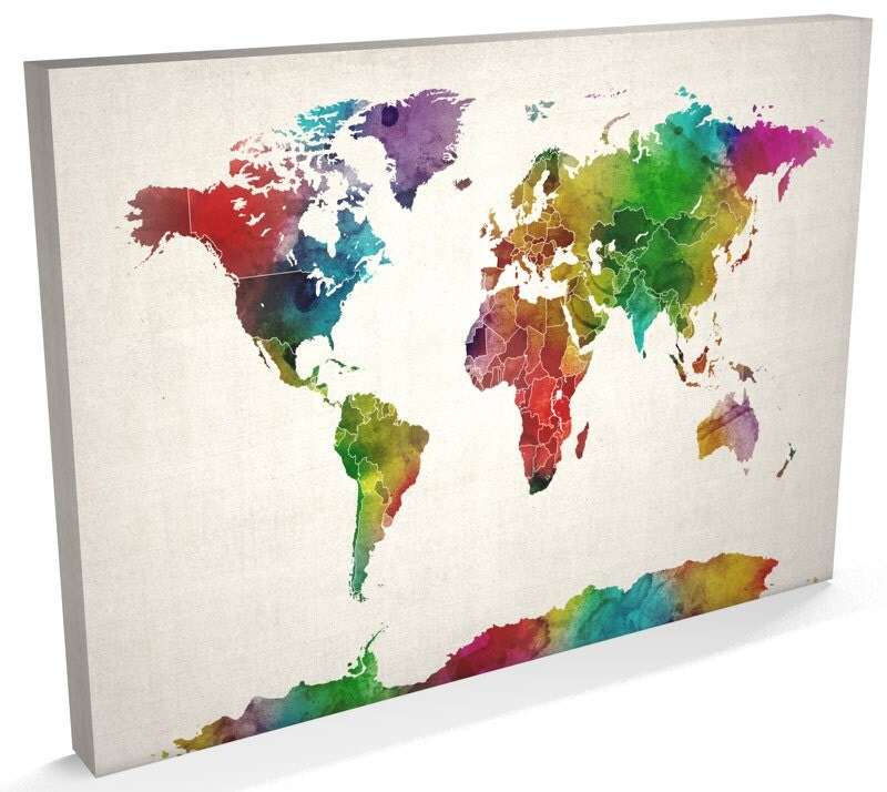 World map canvas watercolour map of the world box canvas art zoom gumiabroncs Choice Image