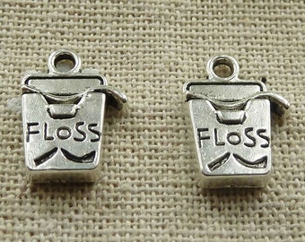Dental Floss Charms 8 Charms Antique Silver 16 x 11 mm - ts1092