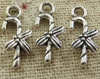 Candy Cane Charm, 12 Christmas Candy Charms, 17 x 8 mm Antique Silver Tone - ts1100