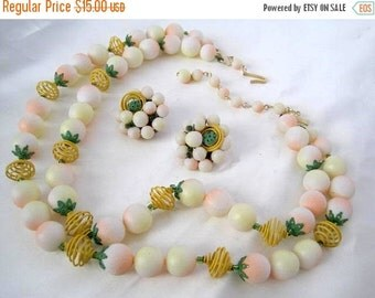 Yellow Necklace Earrings 2 strand Japan Wire Retro
